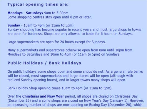 Shops opning times